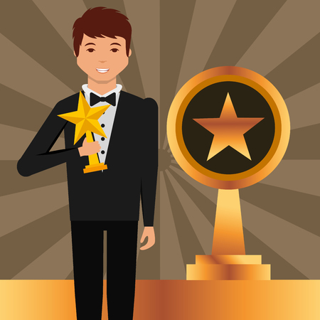 movie awards man holding star prize winner vector illustration
