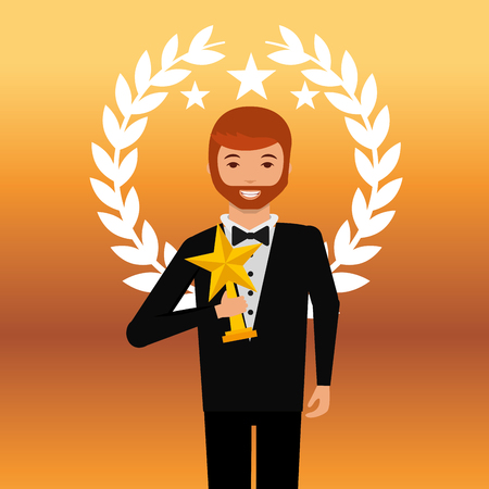 movie awards man smiling holding star prize winner vector illustration Reklamní fotografie - 111614387