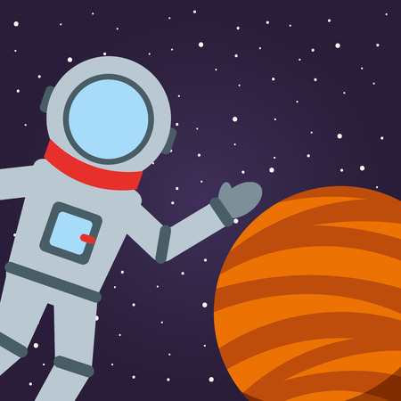 space solar system astronaut greeting planet stars vector illustration Çizim