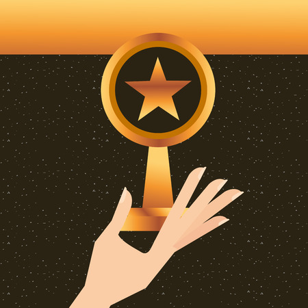 movie awards hand holding star prize vector illustration