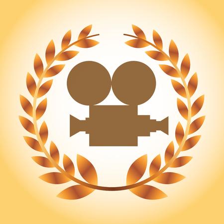 movie awards camera film degrade background vector illustration
