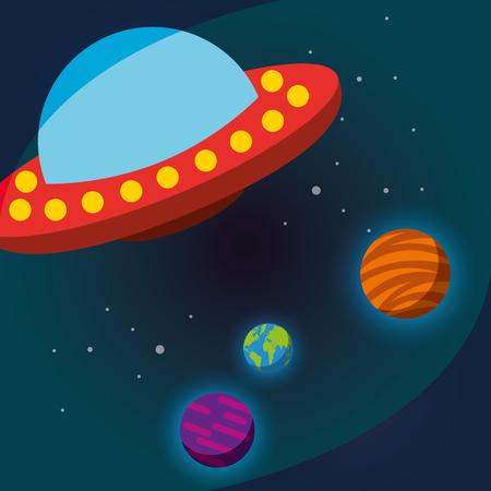 space solar system ufo earth jupiter vector illustration