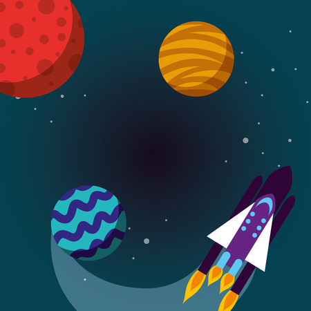 space solar system rocket planets explore stars vector illustration Çizim