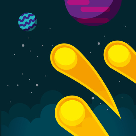 space meteorites planet stars clouds vector illustration