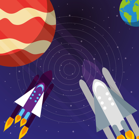 space solar system rockets explore earth vector illustration Çizim