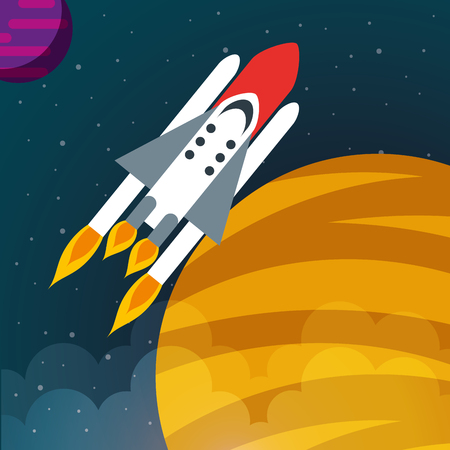 space solar system planets rocket explore vector illustration