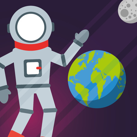 space astronaat greeting earth moon vector illustration