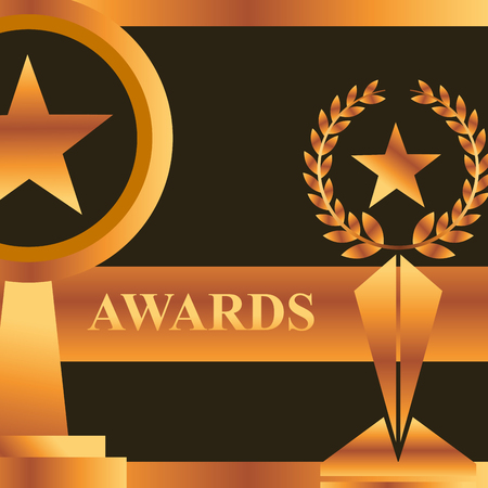 movie awards prizes stars winner vector illustration