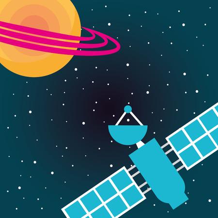 Weltraum-Sonnensystem Saturn-Satellitensignal-Vektorillustration