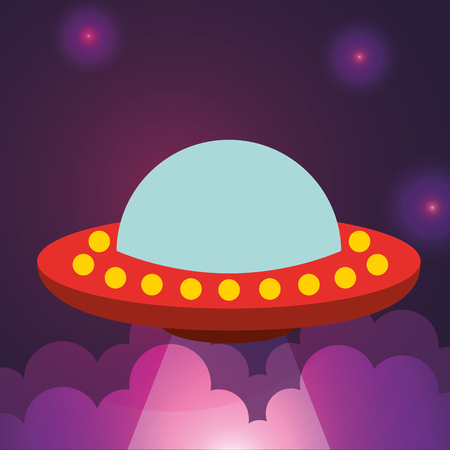 space ufo explore clouds flickering lights vector illustration