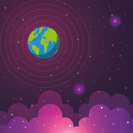 space solar system earth flickering lights clouds stars vector illustration Иллюстрация