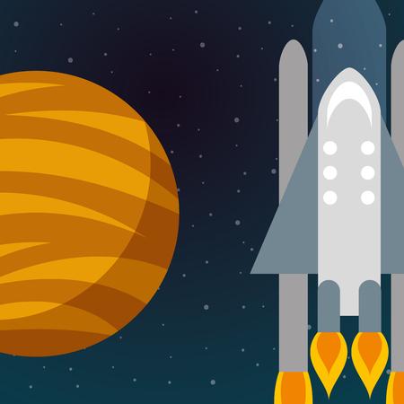 space solar system planet rocket explore vector illustration
