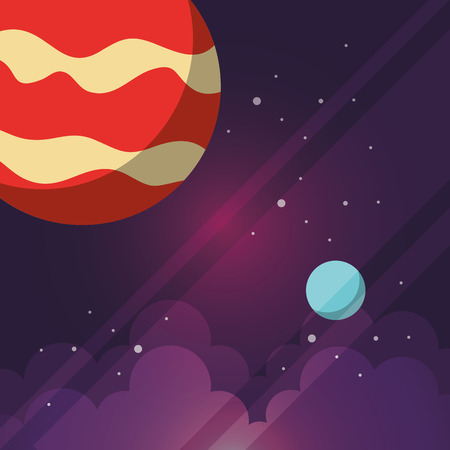 space solar system planets clouds stars vector illustration