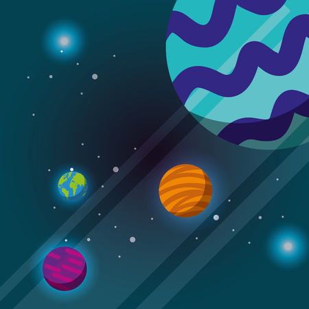 space solar system planets colors lights vector illustration