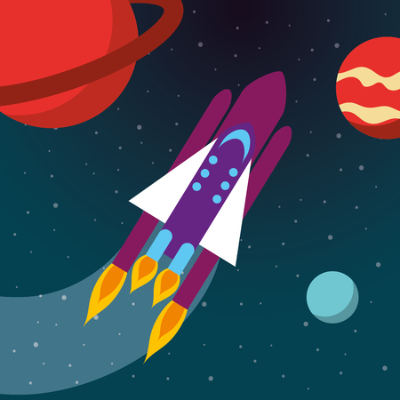 space solar system rocket explore planets vector illustration