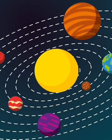 space solar system colors planets background vector illustration  イラスト・ベクター素材