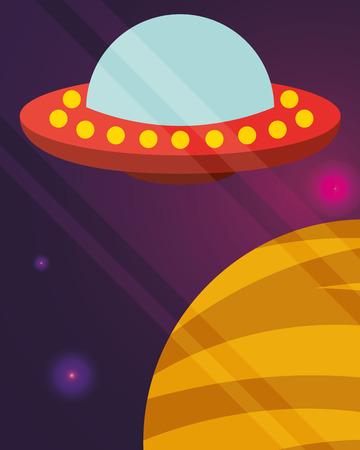 space ufo explore planet flickering lights vector illustration