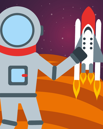 space planet astronaut greeting rocket vector illustration