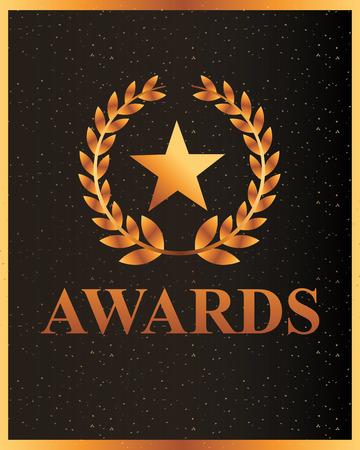 movie awards sign star prize vector illustration