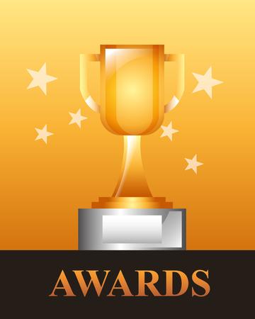 movie awards trophy winner stars background vector illustration