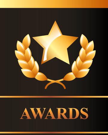 movie awards sign star recognition winner vector illustration