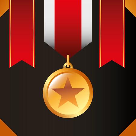 movie awards red ribbons ensign star winner vector illustration