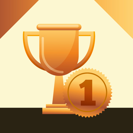movie awards trophy currency number one vector illustration