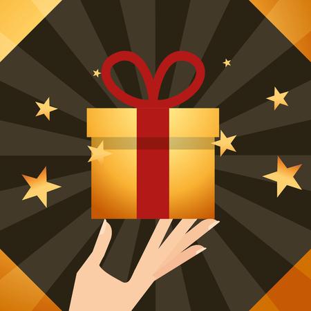 movie awards hand holding gift box stars background vector illustration