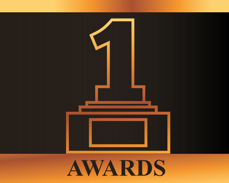 movie awards number one prize winner sign vector illustration