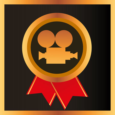 movie awards ribbon circle camera film recognition badge vector illustration 일러스트