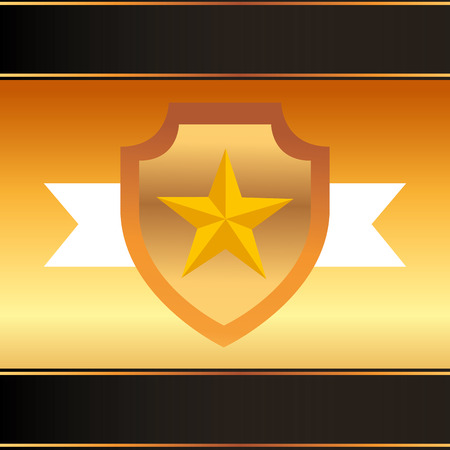 movie awards shield star ribbon vector illustration
