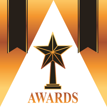 movie awards ribbons star prize black vector illustration