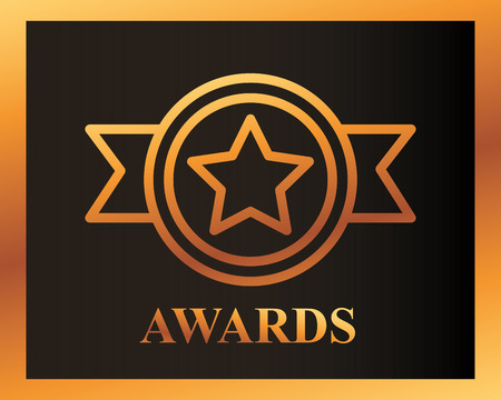 movie awards ribbon star recognition vector illustration 向量圖像