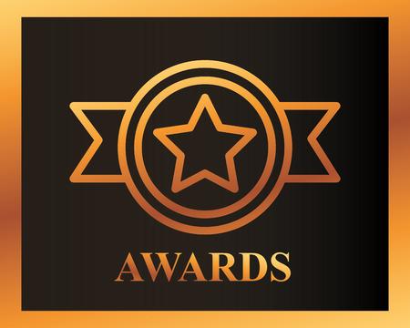 movie awards ribbon star recognition vector illustration Illustration
