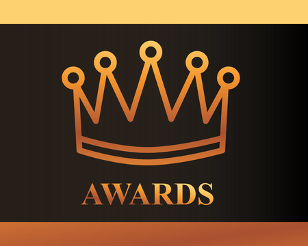 movie awards sign crown winner vector illustration 일러스트