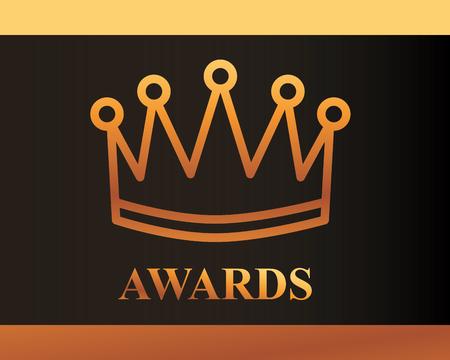 movie awards sign crown winner vector illustration Illustration