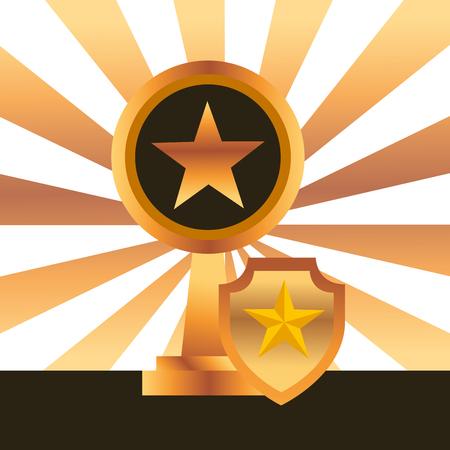 movie awards shield prize star winner vector illustration