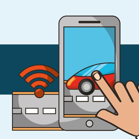 autonomous car hand touching screen street signal vector illustration