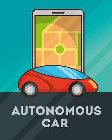 autonomous car smartphone screen ubication sign vector illustration