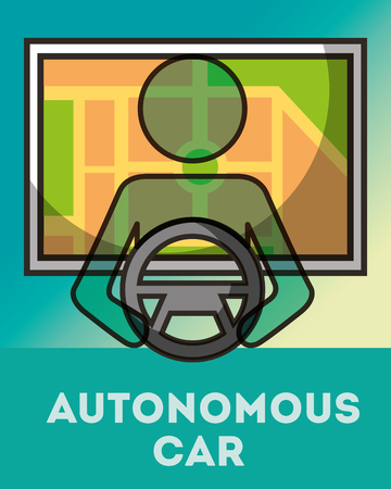 autonomous car male holding steering wheel screen ubication sign vector illustration