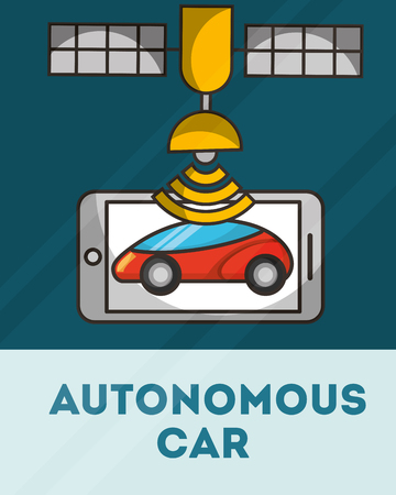 autonomous car smartphone satelite signal vector illustration