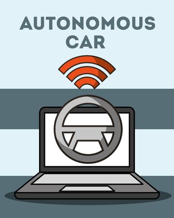 autonomous car computer steering wheel signal wifi vector illustration Stock Vector - 107136636