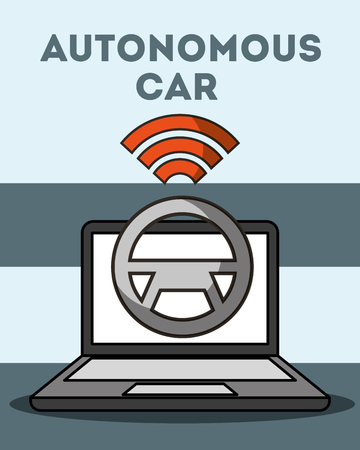 autonomous car computer steering wheel signal wifi vector illustration