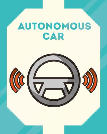 autonomous car steering wheel signal wifi vector illustration