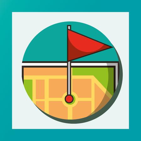 sticker circle tablet screen ubication flag vector illustration Ilustração