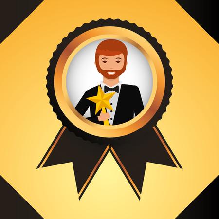 movie awards ribbon ensign winner man holding star prize vector illustration Illusztráció