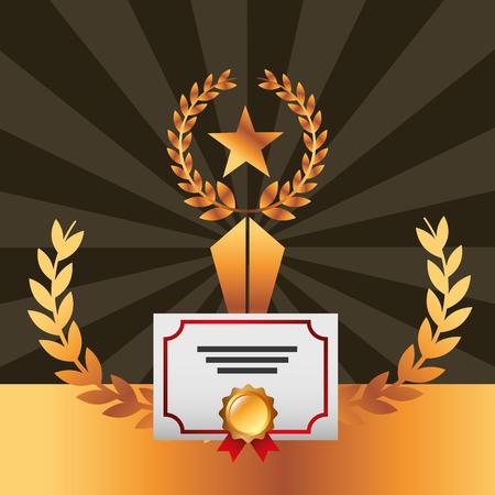 movie awards diploma star prize winner vector illustration
