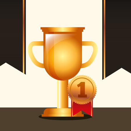 movie awards trophy ensign number one winner vector illustration