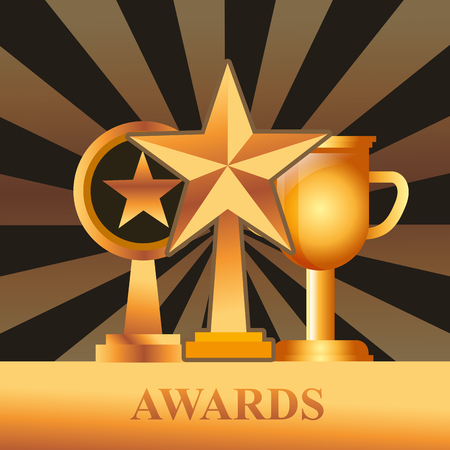movie awards prizes winners trophy vector illustration