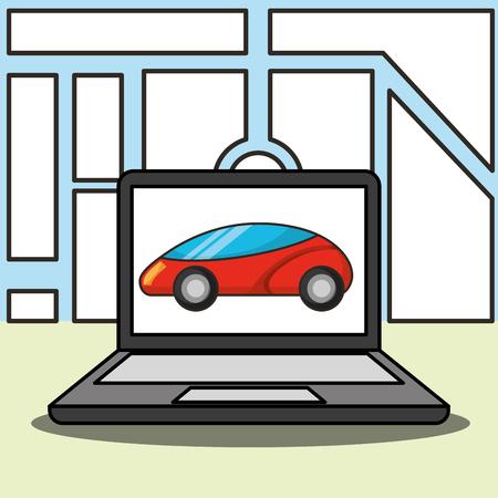 autonome auto computerscherm ubication vectorillustratie